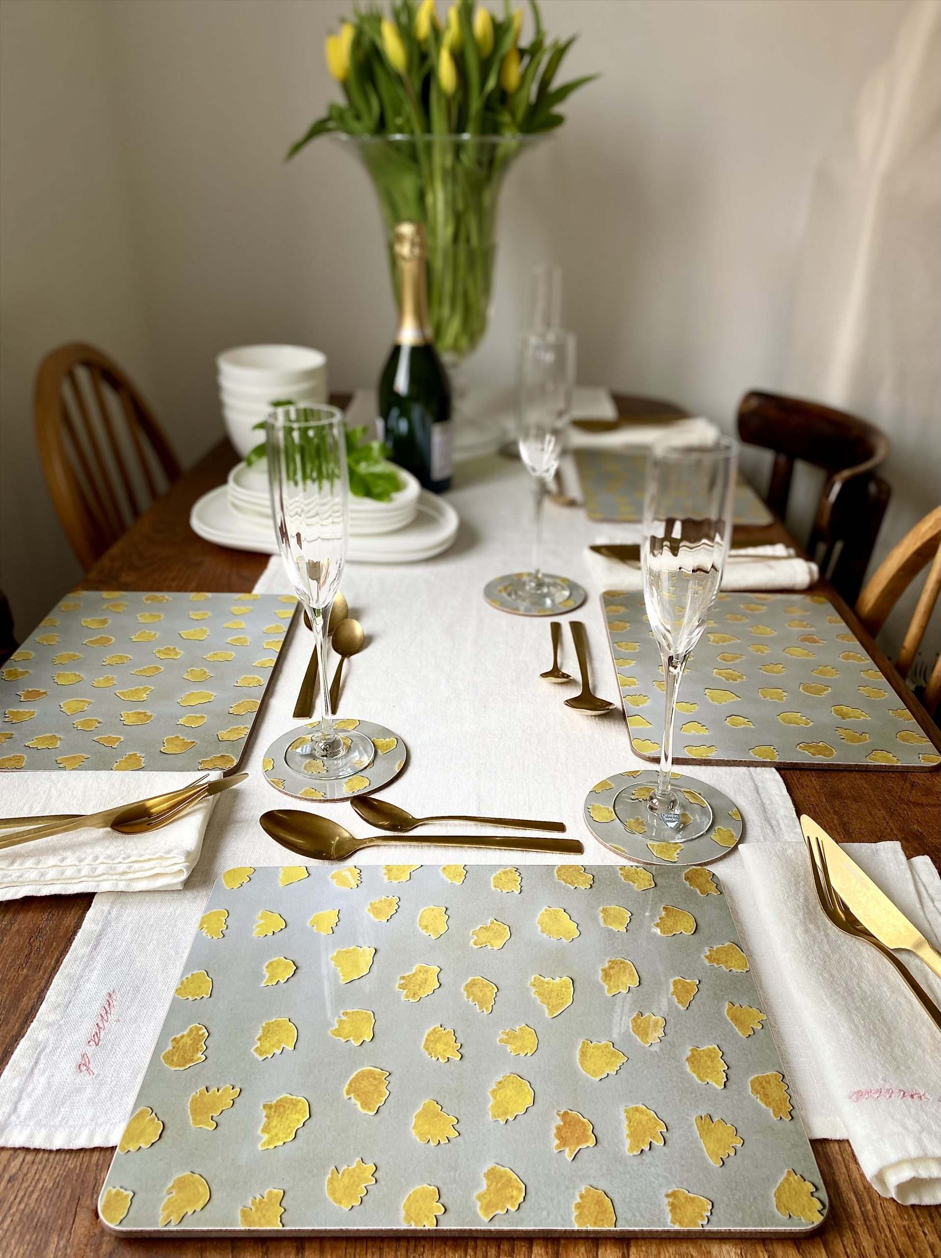 Placemats beige yellow Stortorget Melamine gloss