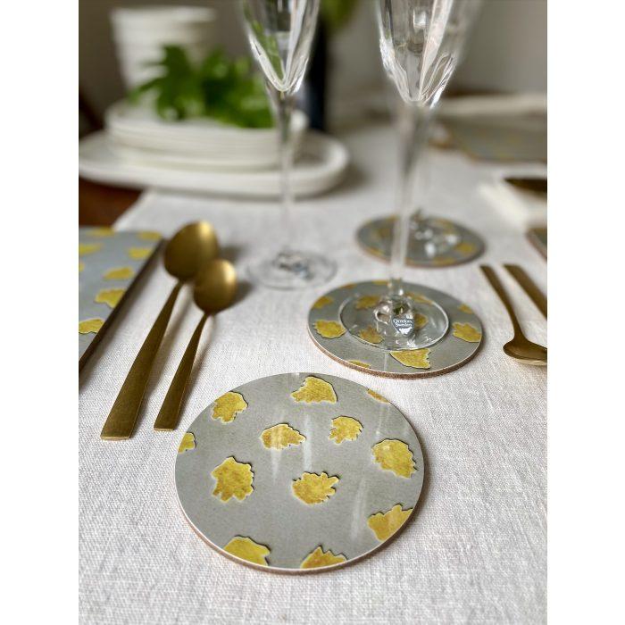 Stortorget Coasters Melamine Beige Yellow Pattern Gloss