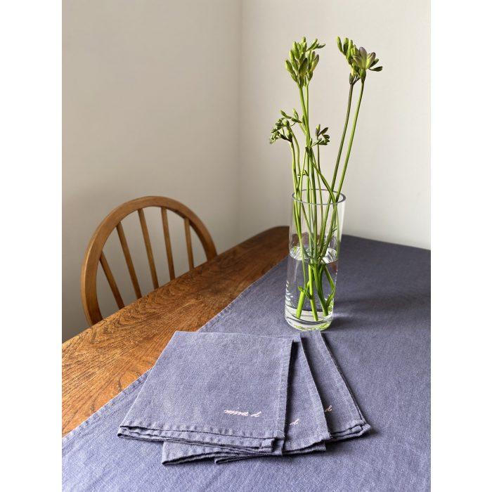 Linen table runner and Napkins Dark Grey