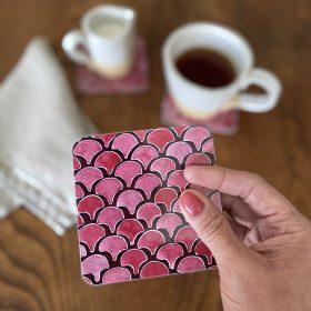 Coaster, melamine, pink, pattern, Ida-Lilja
