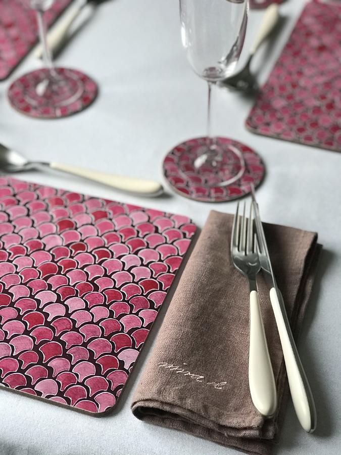 Placemat Tablemat Linen Coaster Pink Melamine Ida-Lilja