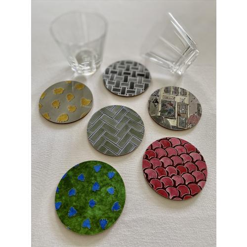 Round Coasters Set of Six Mix Designs Melamine Gloss Cork