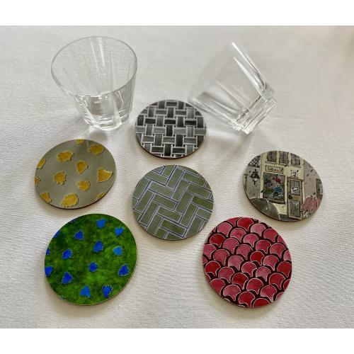 Coasters Round Melamine Gloss NINA D
