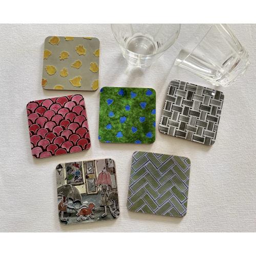 Coasters, square, cork, melamine, gloss, NINA D