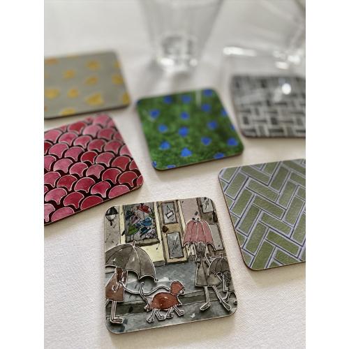 Coasters, Square, Melamine, Gloss, Cork Wood
