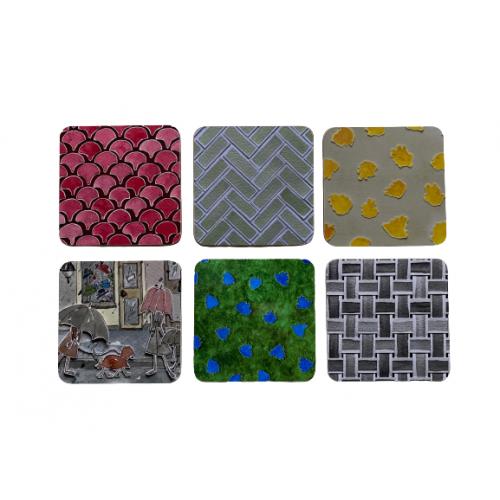 Coasters Square Cork Melamine Gloss Pattern Colours