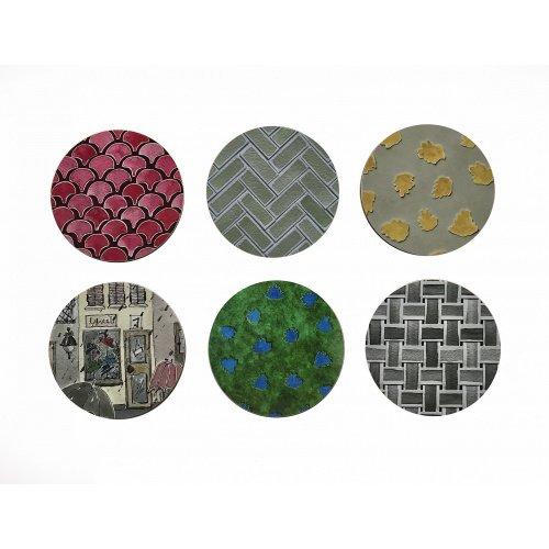 Coasters, Melamine, Cork, Colours, Round, Gloss