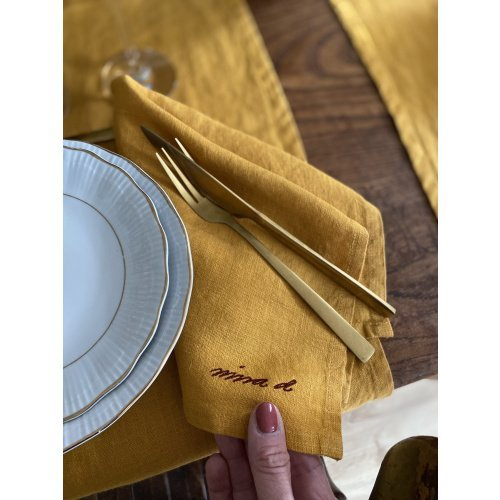 Linen Napkin Yellow Set of 4